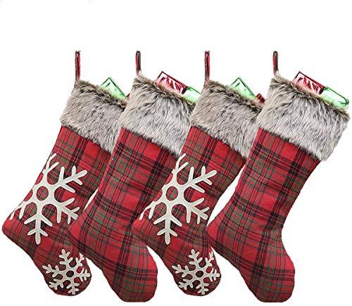 Wuudi 4er Set Nikolausstiefel Weihnachtstasche Weihnachtsstrumpf zum Befüllen und Aufhängen Weihnachtssocken Kamin rot Schneeflocken