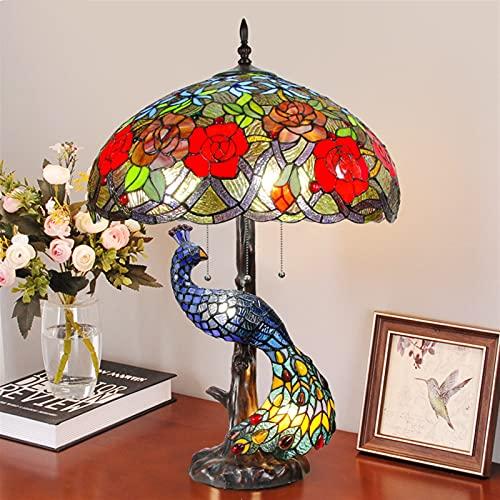 Tiffany cobre lámpara de mesa decorativa vidrio sala de estudio sala de estar lampara de noche 100% hecho a mano (Size : 1039 3 Peacock)