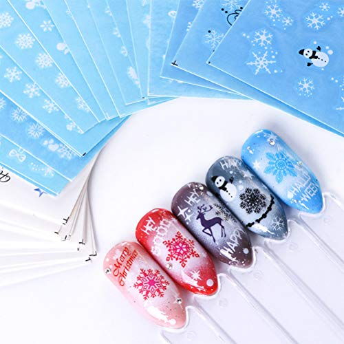 52 Fogli Adesivi Unghie Nail Art Natale Stickers Nail Art 3d Water Decals Nails Autoadesivi Unghie...