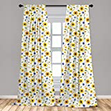 Ambesonne Yellow and White Window Curtains, Botanical Arrangement of Summer Flowers Wheat Daisy Blossoming Nature, Lightweight Decorative Panels Set of 2 with Rod Pocket, 56' x 63', Yellow White