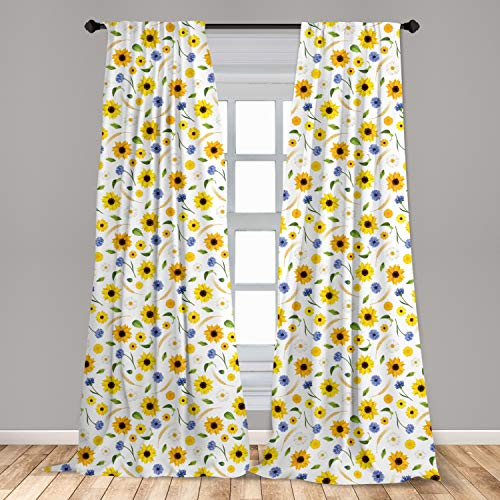Ambesonne Yellow and White Window Curtain, Botanical Arrangement of Summer Flowers Wheat Daisy Blossoming Nature, Lightweight Decorative Panels Set of 2 with Rod Pocket, 56 x 63, Yellow White