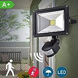 Foco LED con sensor de movimiento y luz de seguridad para patio, jardín, pasillo, parque, garaje, entrada, aluminio, 30 W blanco frío, 30W
