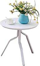 Round Table MDF Coffee Table Living Room Side Table Balcony Corner Table,50 * 50Cm (Color : White)