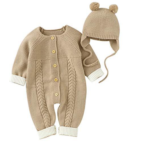 NCONCO Herbst Winter Neugeborene Baby Strampler Kleinkind Jumpsuit Body mit Mütze für 3–24 Monate Babys Jungen Mädchen Gr. 68, camel