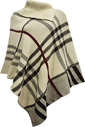 Italian Collection Poncho de invierno para mujer con cuello alto de tartán a cuadros