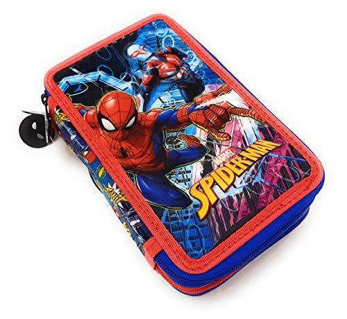 Dimagraf Spiderman - Astuccio Scuola 3 Zip Spiderman - Completo di 44 Pezzi - Prodotto...