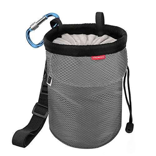 MoKo Bolsillo de Tiza con Cinturón Ajustable y Mosquetón Cordón para Deportes, Bolsa de Magnesio al Aire Libre para Escalada en Roca, Levantamiento de Pesas, Gimnasia - Gris