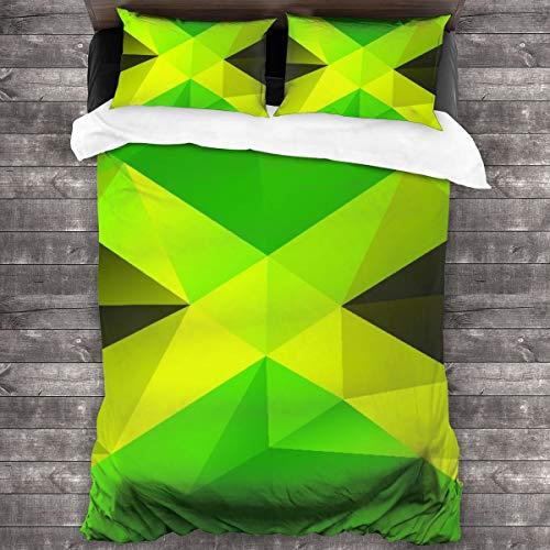 AIMILUX Funda Edredón,Diseño Polígono Triangular con Bandera Abstracta Símbolo Nacional Geométrico,Ropa de Cama Funda Nórdica,1(220x240cm)+2(50x80cm)