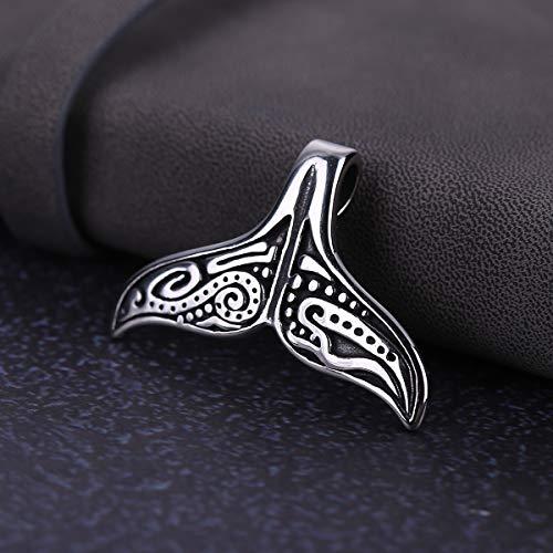 Collar Salvaje Europeo y Americano para Hombre, Collar de Cola de pez clásico Personalizado, Colgante de Acero Titanio 4.4 * 3.3cm Acero Negro