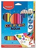 """Maped 18 uds COLOR""""PEPS AQUA, Lapices de colores acuareables+ pincel. Maped 836012"""