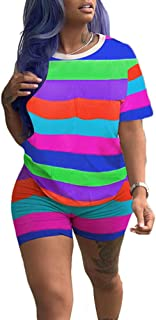 Casual 2 Piece Outfits Shorts Set Rainbow Striped T Shirt High Waisted Shorts Pants Fuchsia M