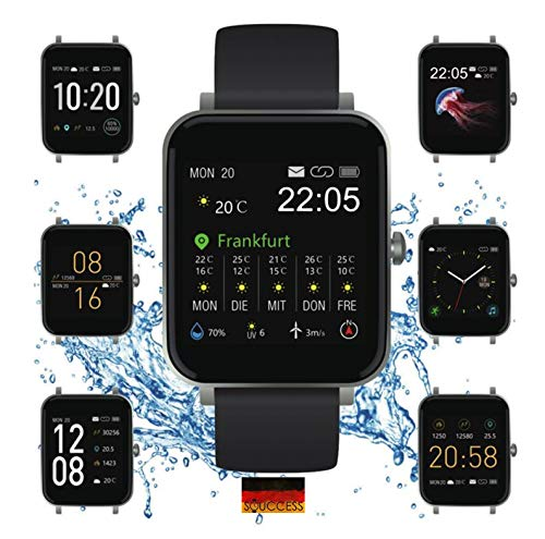 "SOUCCESS FITNESSUHR MIT Full Touch Display, SMARTWATCH Always ON Display, FITNESSTRACKER, PULSMESSER, SCHRITTZÄHLER FÜR Frauen UND MÄNNER, GROSSES 1.54"" Display, IOS/Android, 3ATM WASSERDICHT, IP68"