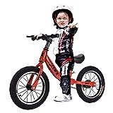 Bueuwe Bicicleta De Equilibrio De 14 Pulgadas Ligera Sin Pedales Sillín Y Manillar Son Regulable En Altura para Niños Y Niñas 3-7 Años,Rojo