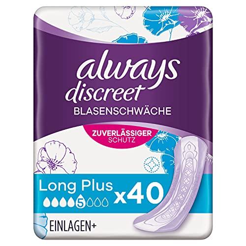 Always Discreet Inkontinenzeinlagen Long Plus (40 Binden) diskreter Schutz & hohe Saugstärke, geruchsneutralisierend, 5 x 8 Stück