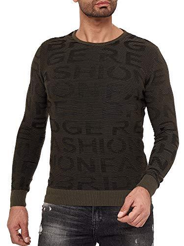Redbridge Suéter de Punto Sudadera para Hombre con Estructura 3D - Caqui M