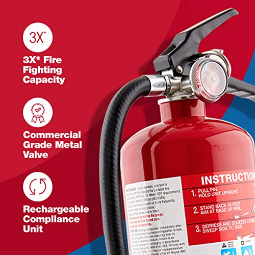 First Alert PRO5 Rechargeable Heavy Duty Plus Fire Extinguisher UL rated 3-A:40-B:C, Red