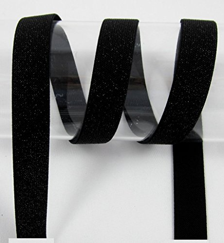Glitzerband, elastisch, Elastic, 25mm, blinken, bunt, nähen, Meterware, 1 Meter (schwarz)
