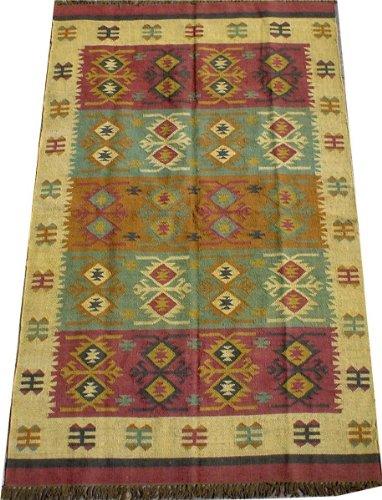 Guru-Shop Alfombra Kilim Oriental de Tejido Grueso 250x150 cm - Patrón 2, Marfil, Lino, Alfombras y Alfombrillas