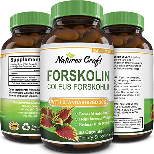 Natures Craft Pure Forskolin Extract for Weight Loss Supplement Powerful Antioxidant - Maximum Strength Belly Buster Healthy Weight Management Get Lean and Trim for Men and Women