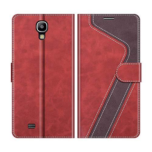 MOBESV Handyhülle für Samsung Galaxy S4 Hülle Leder, Samsung Galaxy S4 Klapphülle Handytasche Case für Samsung Galaxy S4 Handy Hüllen, Modisch Rot
