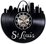 TYFEI Reloj de Pared de Vinilo Retro Reloj de Pared de Vinilo Reloj de Pared de construcción de la Ciudad de St Louis Reloj de decoración de Pared Reloj de Regalo 12 Pulgadas