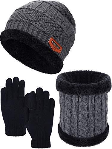 Kids Winter Set Toddler Winter Hat Mitten Set, Includes Warm Hat All Fingers Gloves and Warm Circle Neck (Black, Grey)