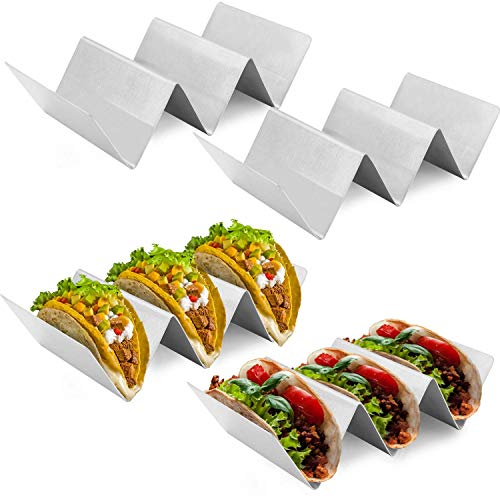 Taco Holders 4 Packs, Taco Stand Rack, Stainless Steel Taco Holders, Each Rack Holds Up to 2 or 3 Tacos. Oven Safe for Baking, Dishwasher and Grill Safe, Easy to Serve Tacos