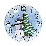 Mailine Reloj de Pared Redondo Árbol de Navidad Muñeco de Nieve Reloj de Pared Redondo Silencioso Sin tictac Reloj Decorativo con Pilas Arte