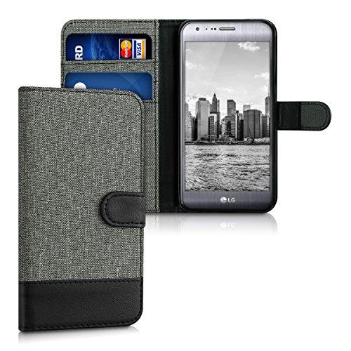 kwmobile Hülle kompatibel mit LG X Cam - Kunstleder Wallet Hülle mit Kartenfächern Stand in Grau Schwarz