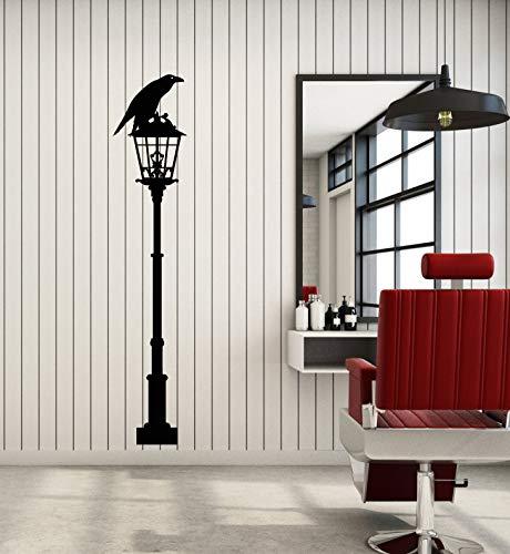 Vinyl Wall Decal Black Crow Raven Lantern Street Lamp Gothic Style Stickers Mural Large Decor (g1394) Black