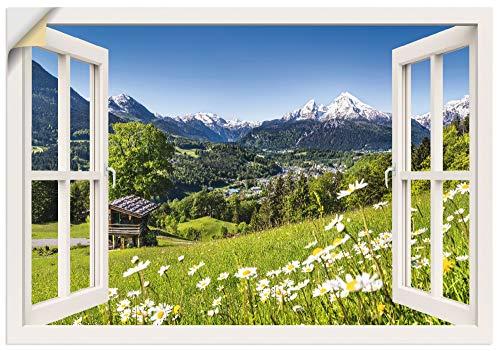 Artland Wandbild selbstklebend Vinylfolie 130x90 cm Fensterblick Fenster Alpen Landschaft Berge Wald Gebirge Wiese Natur T5TQ