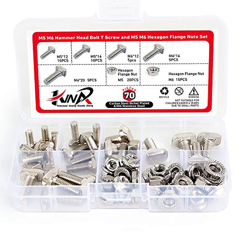 M5 M6 Hammer Head Bolt T Screw and M5 M6 Hexagon Flange Nuts Set Carbon Steel Nickel Plated for 20 30 Series European Standard T-Slot Aluminum Profile(70 Pack)