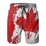 Jebnpse Man Summer Canada Canadian Flag Art Quick Dry Beach Shorts Board Shorts,Men's Beach Shorts Quick Dry Summer Surfing Trunks Surf Board Shorts Beach Pants with Pockets for Men XX-Large