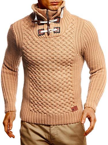 Leif Nelson Herren Strickpullover Brauner Pullover mit Stehkragen Männer Pulli für Winter Winterpullover LN4185 Large Braun