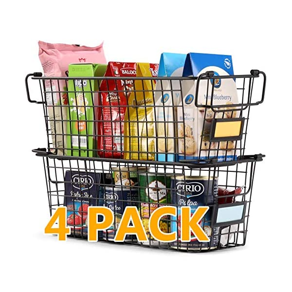 4 Pack Large Stackable Wire Baskets For Pantry Storage and Organization – Metal...
