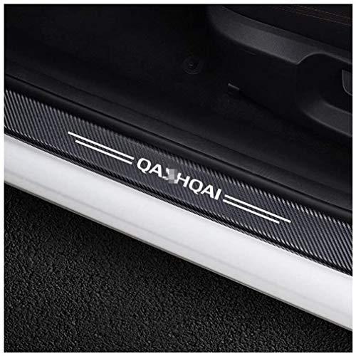 LOPLP Carbon Fiber Car Door Sill Scuff Plate Stickers Trim for Nissan Qashqai,Door Sill Protectors,Welcome Pedal Guard Pedal,Kick Plates Anti Scratch,Car Accessories,4 Pcs