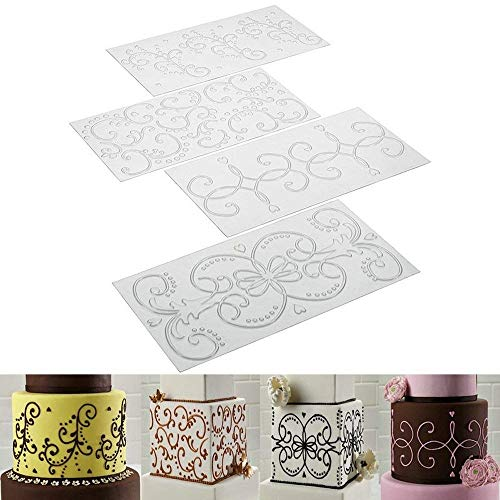 Cake Fondant Impression Mat - Scroll Vine Lace Texture Embossing Mat for Cake Decorating (Set of 4)