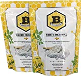 Beesworks 1lb White Beeswax Pellets 2 Pack (2-1lb Packages)-Cosmetic Grade All Natural White Beeswax Pellets.
