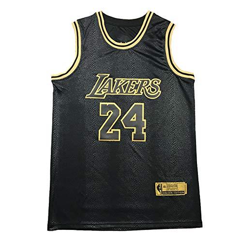 Camisetas de Baloncesto Kobe Bryant Platinum y Black Gold, Sudadera Bordada para Hombre Black Mamba Lakers, Camiseta de Secado rápido sin Mangas para jóvenes al Aire Libre.-Black A-S