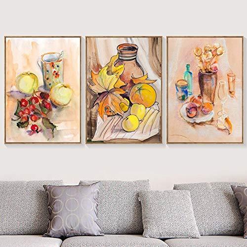 Lienzo de pared con pintura nórdica de acuarela manzana naranja fruta vino copa carteles impresiones dibujos animados cuadro modular decoración del hogar 50x70x3pcs sin marco