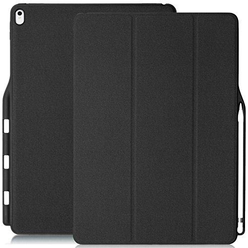 KHOMO iPad Pro 12.9 (2017) Case Hülle Gehäuse mit Doppeltem Schutz, Smart Cover und Apple Pencil 1 Halter Schutzhülle - Dunkelgrau