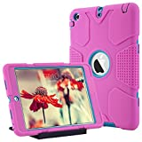 ULAK iPad Mini 1/2/3 Hülle, [Armor Serie] Stoßfest Schutzhülle mit Kickstand 3 in 1 Soft Silikon + Hart PC Tasche Standfunktion Hülle Cover für Apple iPad Mini/Mini 2/Mini 3 - Pink