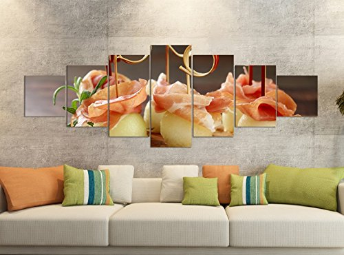 Canvasfoto's 7 delig 280x100cm mediteran meloen honingmeloen ham eten keuken canvas afbeelding delen delen kunstdruk geweven muurschildering meerdelig 9YB1132