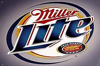 Ucland Tin Sign & Miller Lite Beer - Brushed Metal, 16x12