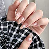 Feilisa Star-Short Full cover Fake Nails Almond Press on Nails Short Acrylic Nails Nude False Nails With Glue Sticker Prom Nails -24pc