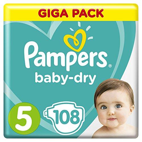 Pampers Baby-Dry Windeln, Größe 5 Junior (11-16 kg), Giga Pack, 1er Pack (1 x 108 Stück)