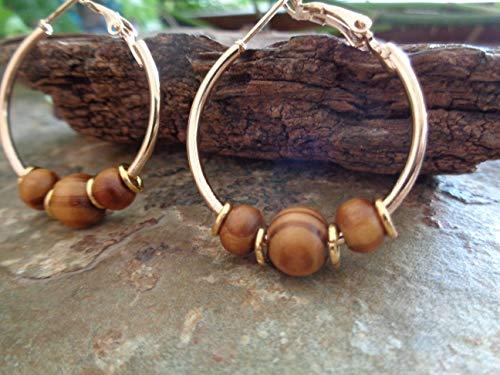 ꧁ 3 CM GOLD WURZELHOLZ CREOLEN ꧂ Ohrringe in gold und beige braun aus Naturmaterialien