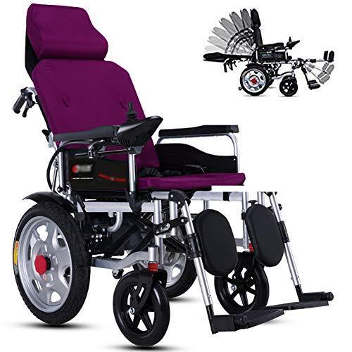 GYPPG Elektrisch Rollstuhl Mit Kopfstütze Und Verstellbare Rückenlehne, Leicht Falten Tragbar Elektrorollstuhl, Anhebbare Armlehne Und Einstellbares Pedal, Elektrisch Oder Manuell Rollstuhl,Lila