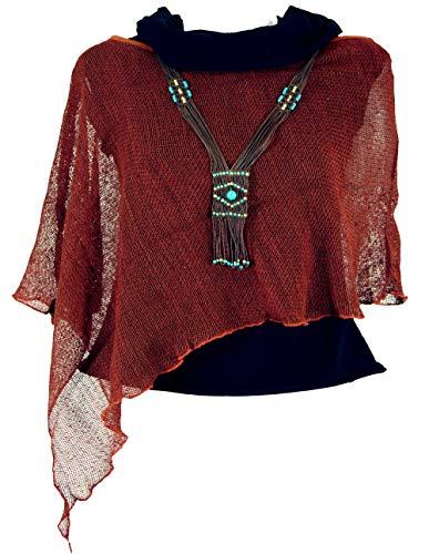 Guru-Shop Goa Poncho, Sommerponcho, Festival Poncho, Pixi Poncho, Damen, Rostrot, Baumwolle, Size:40, Jacken, Mäntel & Ponchos Alternative Bekleidung
