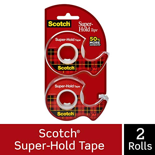 Scotch Brand Super-Hold Tape, 50% More Adhesive, Glossy Finish, Photo-Safe, Engineered for Securing, 3/4 x 600 inches, 2 Dispensered Rolls (198DM-2)